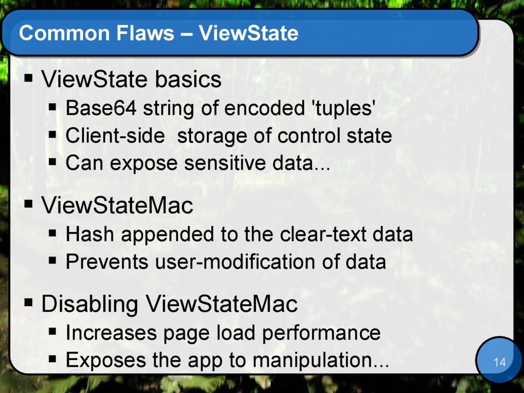 14 Common Flaws – ViewState  ViewState basics ...