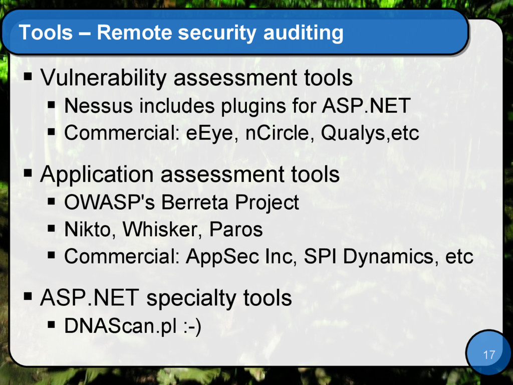 17 Tools – Remote security auditing  Vulnerabi...