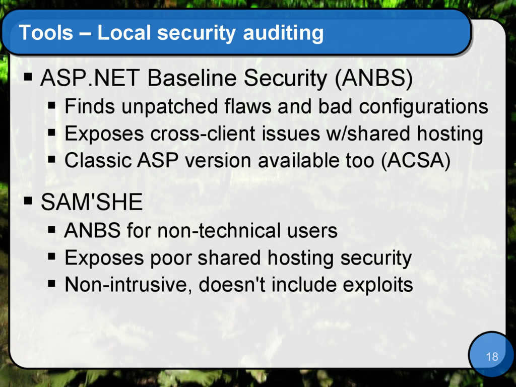 18 Tools – Local security auditing  ASP.NET Ba...