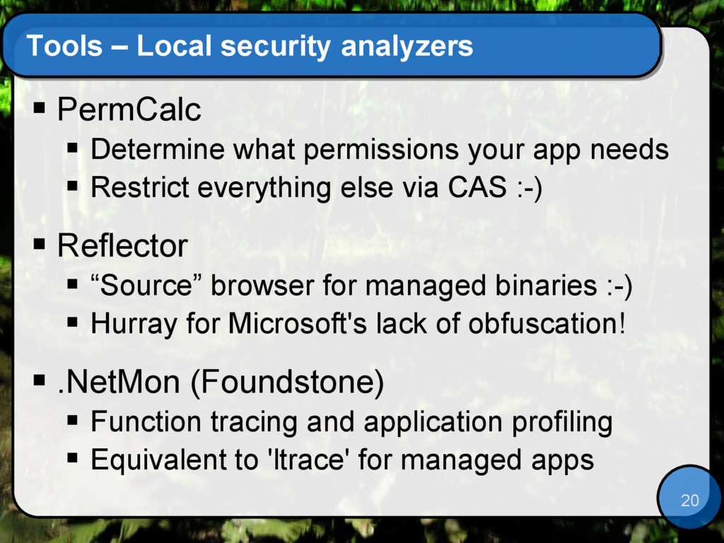 20 Tools – Local security analyzers  PermCalc ...