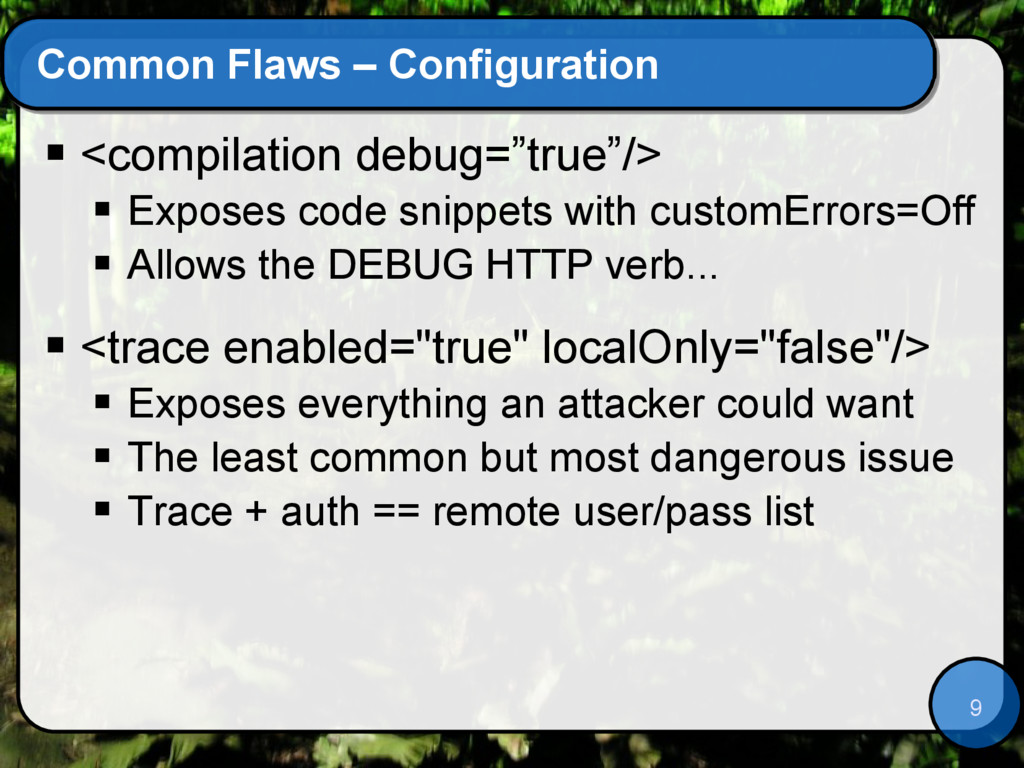 9 Common Flaws – Configuration  <compilation d...