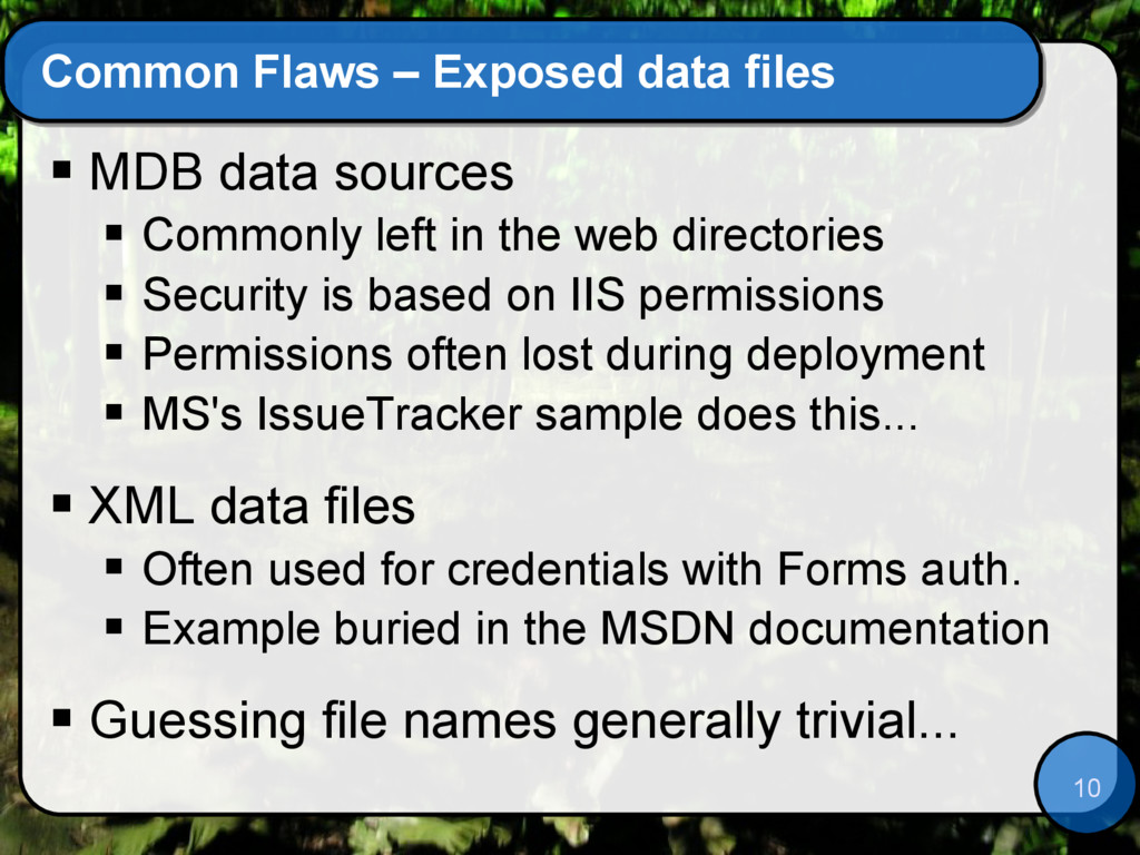 10 Common Flaws – Exposed data files  MDB data...