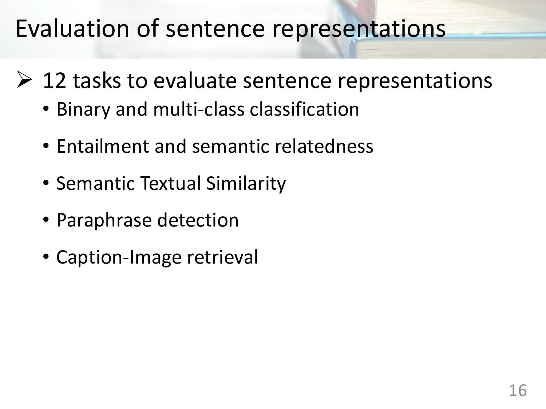 Evaluation of sentence representations 16 Ø 12 ...