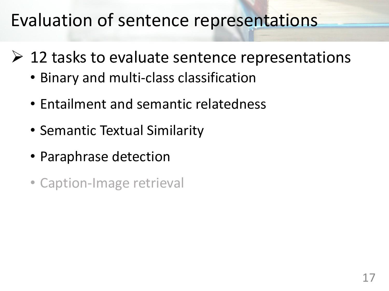 Evaluation of sentence representations 17 Ø 12 ...