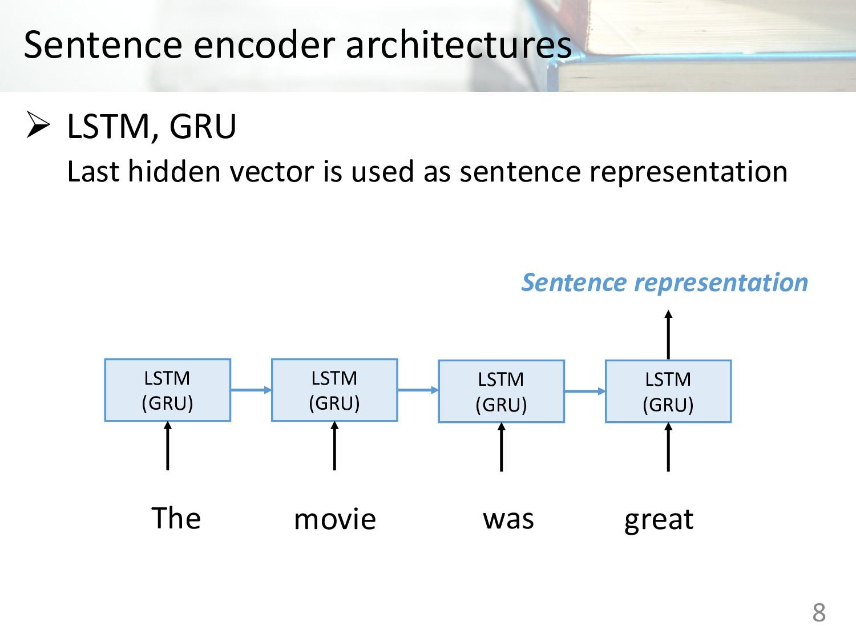 Sentence encoder architectures Ø LSTM, GRU Last...