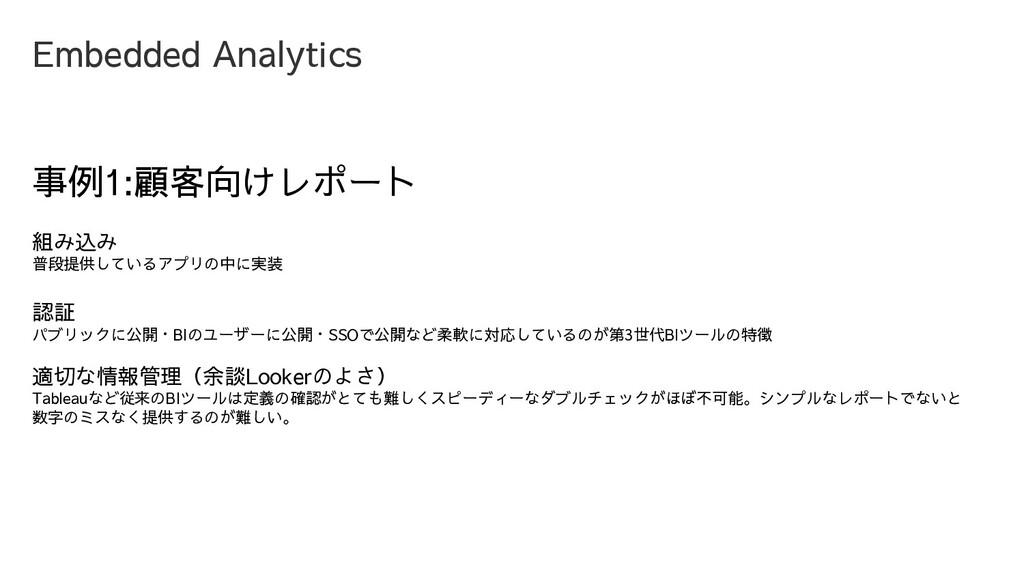 Embedded Analytics 事例1:顧客向けレポート 組み込み 普段提供しているアプ...