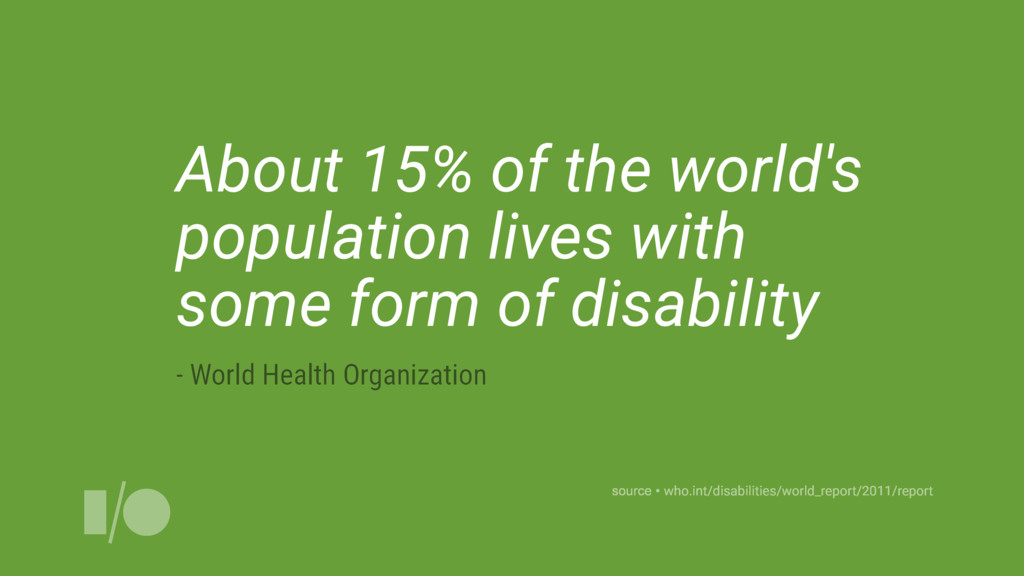 About 15% of the world's population lives with ...
