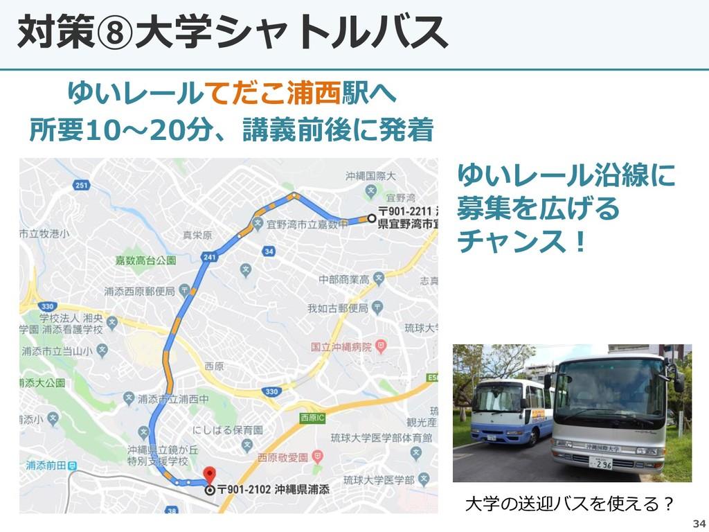 対策⑧大学シャトルバス 34 ゆいレールてだこ浦西駅へ 所要10~20分、講義前後に発着 大学...