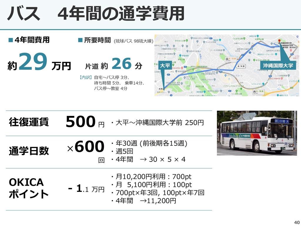バス 4年間の通学費用 40 ■所要時間 (琉球バス 98琉大線) 片道 約 26 分 【内訳...