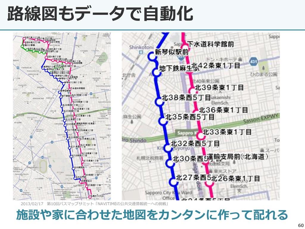 路線図もデータで自動化 60 施設や家に合わせた地図をカンタンに作って配れる 2013/02/...