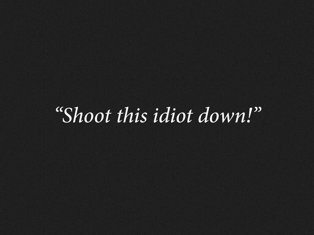 """Shoot this idiot down!"""