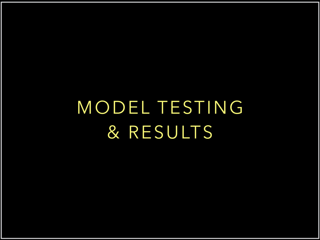 MODEL TESTING & RESULTS