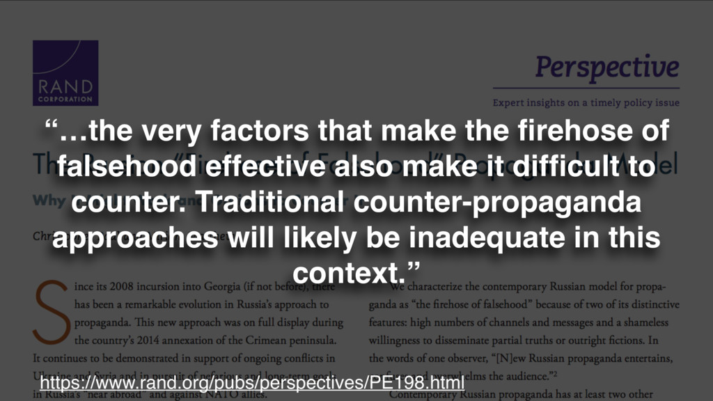 """""""…the very factors that make the firehose of fal..."""