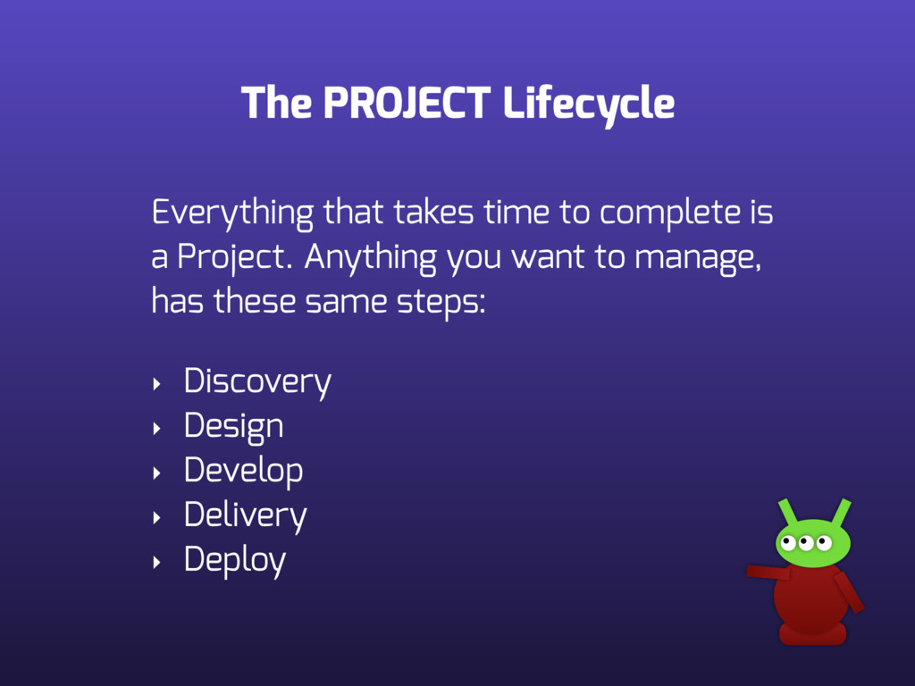 The PROJECT Lifecycle Everything that takes tim...
