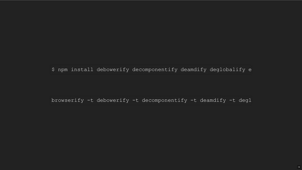 $ npm install debowerify decomponentify deamdif...