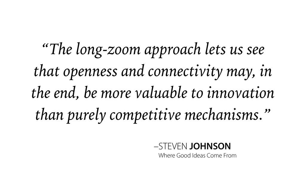 "–STEVEN JOHNSON ""The long-zoom approach lets us..."