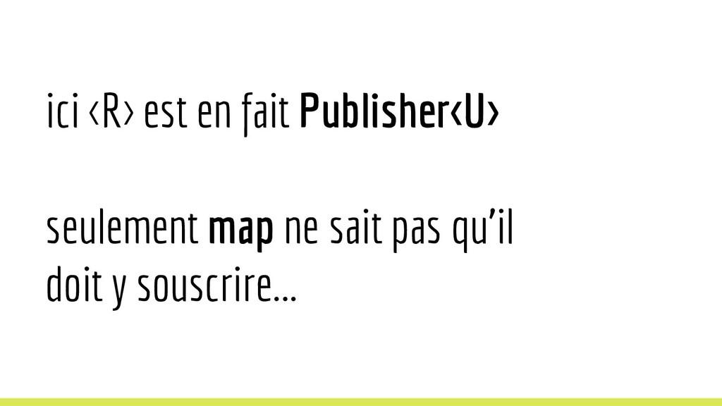 ici <R> est en fait Publisher<U> seulement map ...