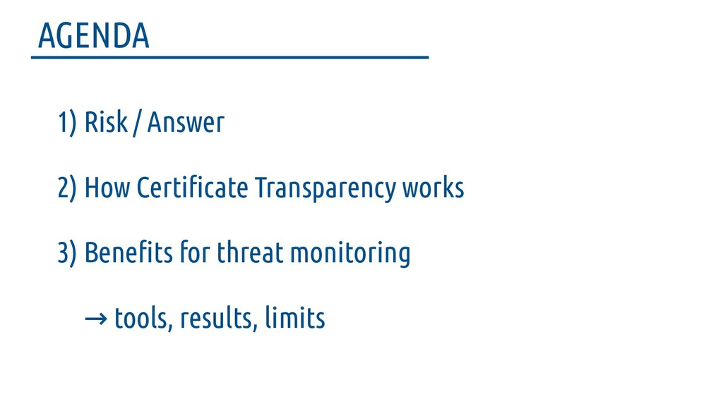 1) Risk / Answer 2) How Certifcate Transparency...
