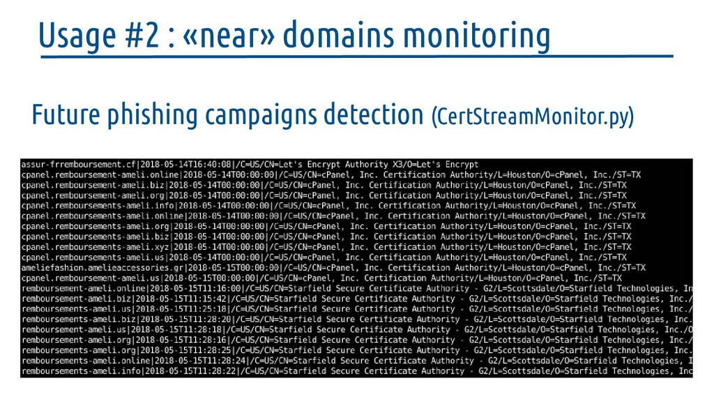 Future phishing campaigns detection (CertStream...