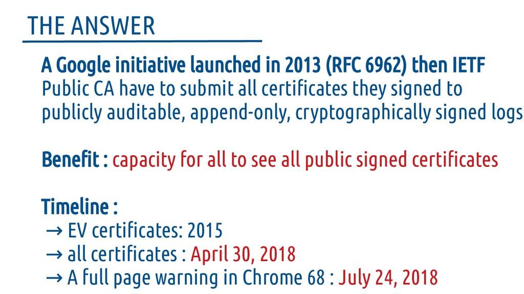 A Google initiative launched in 2013 (RFC 6962)...