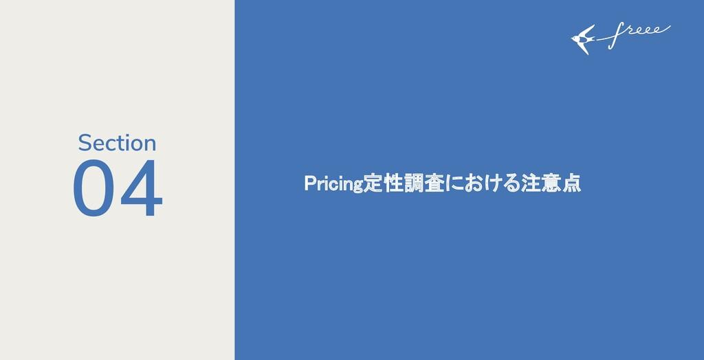 04 Pricing定性調査における注意点 Section