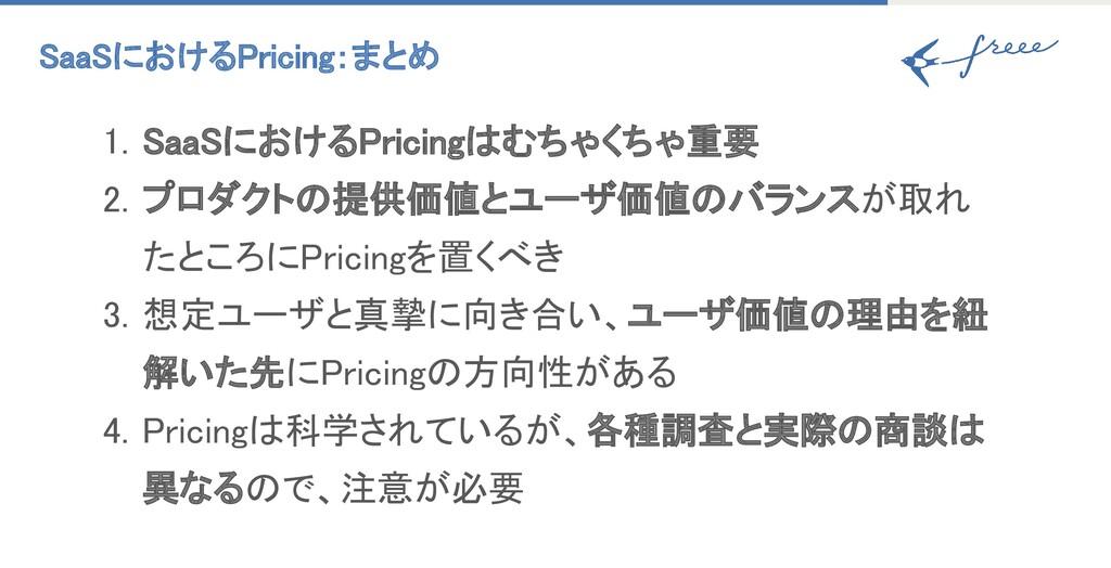 SaaSにおけるPricing:まとめ 1. SaaSにおけるPricingはむちゃくちゃ重...