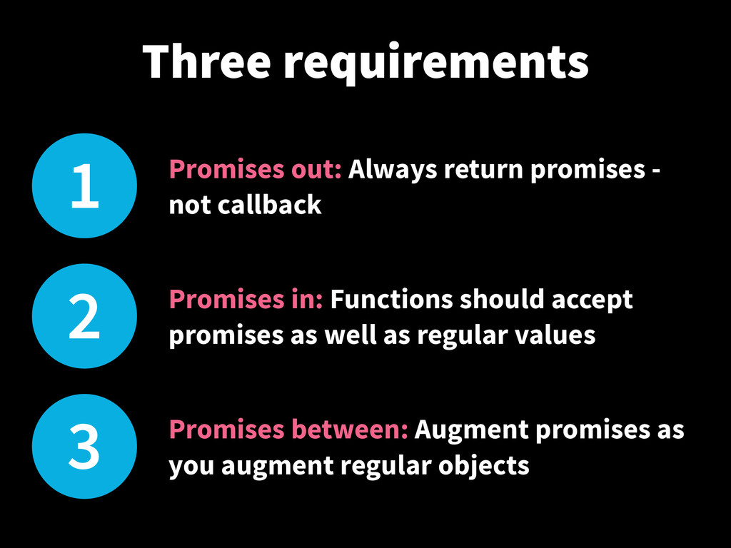 1 Promises out: Always return promises - not ca...