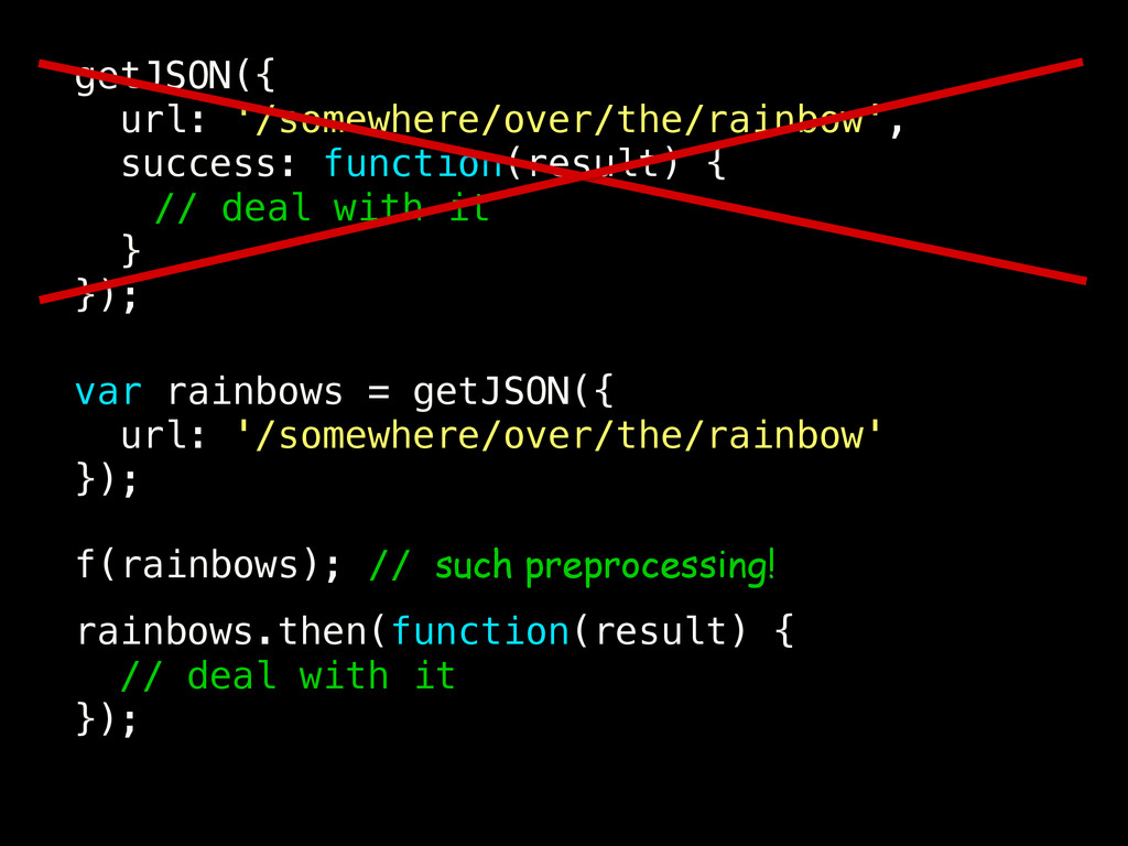 getJSON({ url: '/somewhere/over/the/rainbow', s...