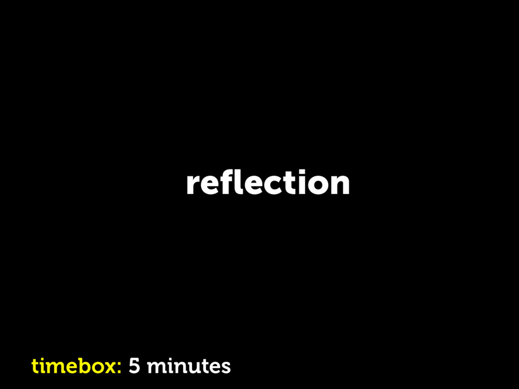 reflection timebox: 5 minutes