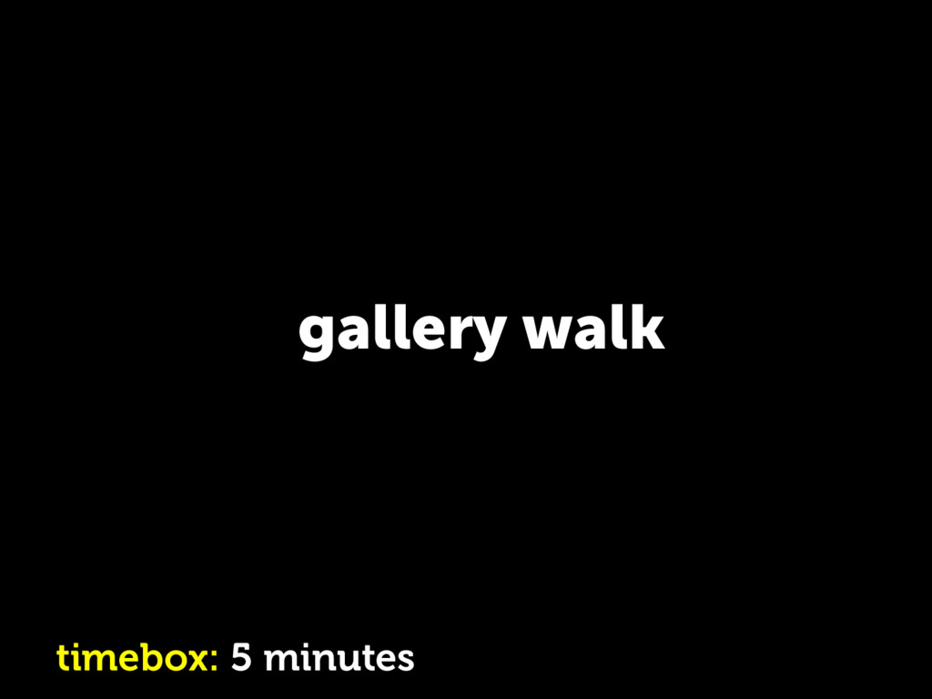 gallery walk timebox: 5 minutes
