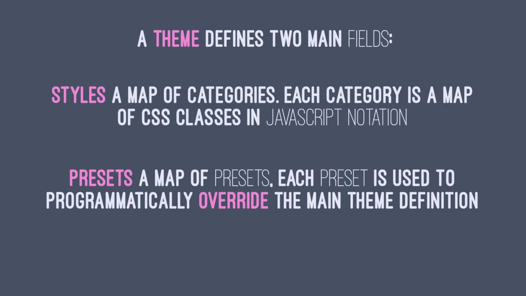 A THEME DEFINES TWO MAIN FIELDS: styles a map o...