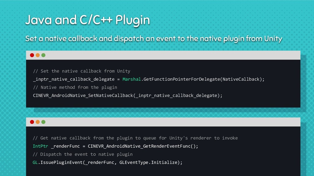 Set a native callback and dispatch an event to ...