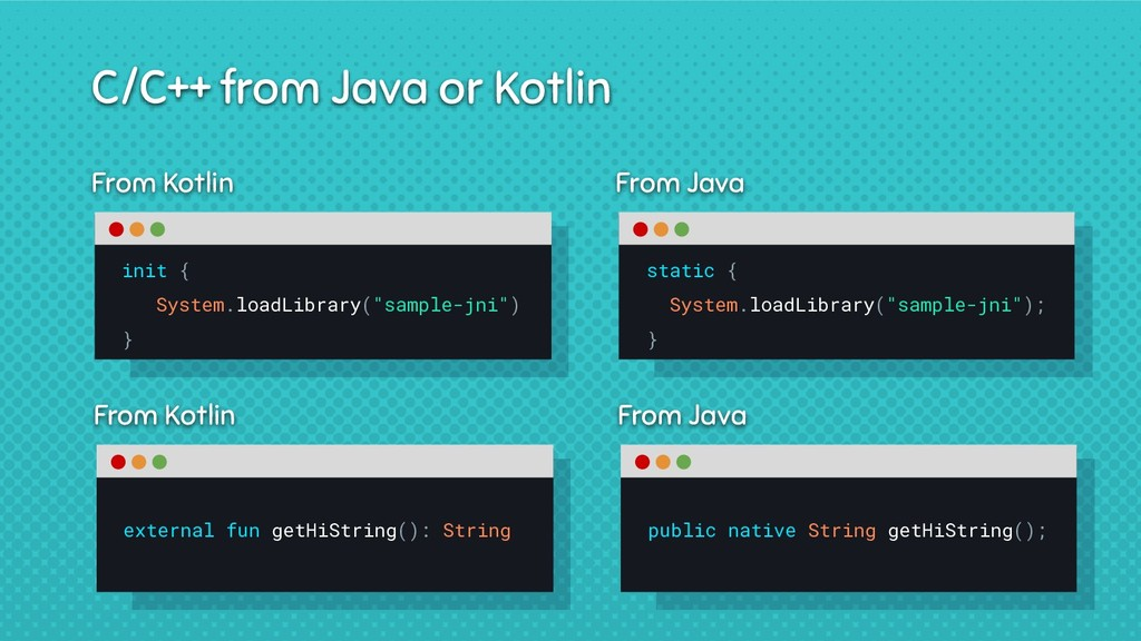 From Kotlin C/C++ from Java or Kotlin external ...