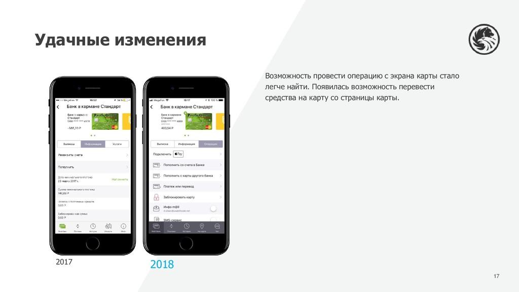 17 Удачные изменения 2017 2018 Возможность пров...