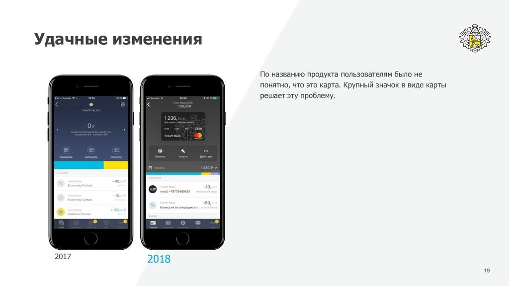 19 Удачные изменения 2017 2018 По названию прод...