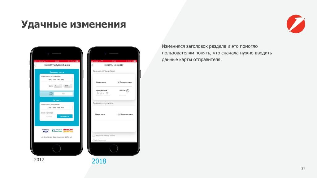 21 Удачные изменения 2017 2018 Изменился заголо...