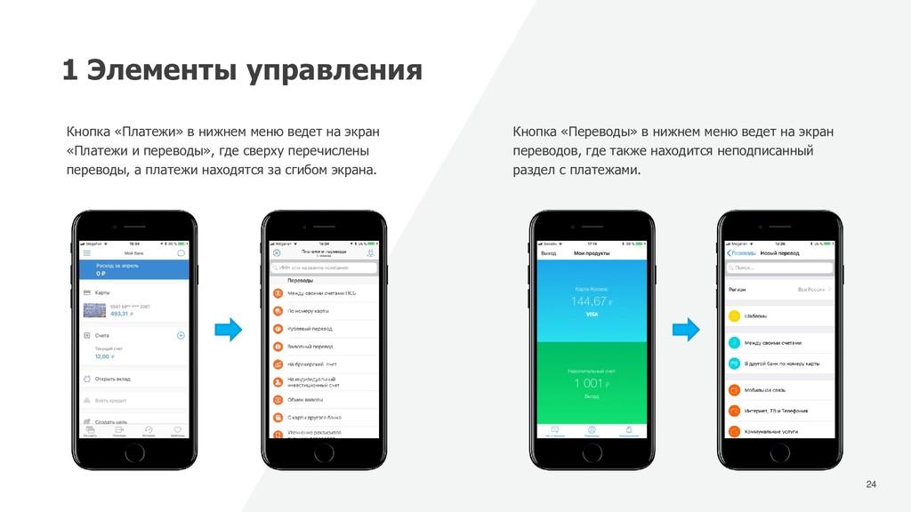 24 1 Элементы управления Кнопка «Платежи» в ниж...