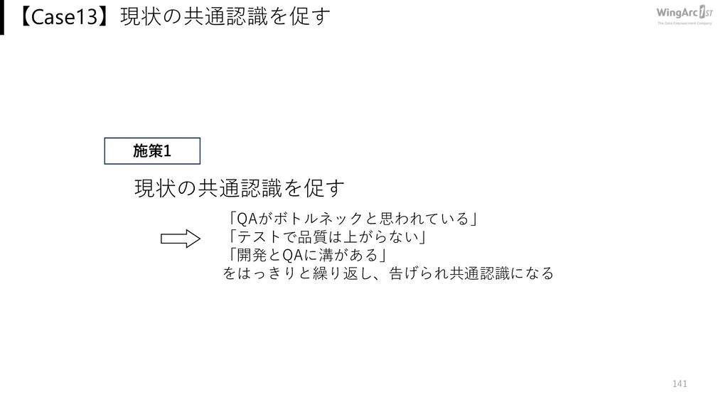 【Case13】現状の共通認識を促す 141 開発とコラボ! 学びを⽌めない! 現状の共通認識...