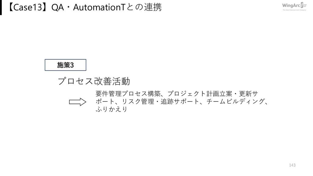 【Case13】QA・AutomationTとの連携 143 プロセス改善活動 要件管理プロセ...