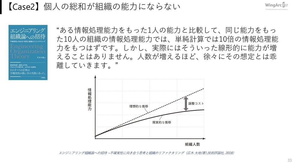 """【Case2】個⼈の総和が組織の能⼒にならない 33 """"ある情報処理能⼒をもった1⼈の能⼒と⽐..."""