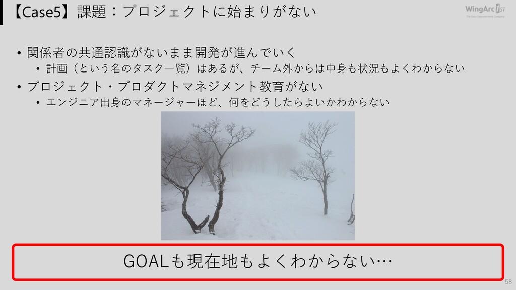 【Case5】課題:プロジェクトに始まりがない • 関係者の共通認識がないまま開発が進んでいく...