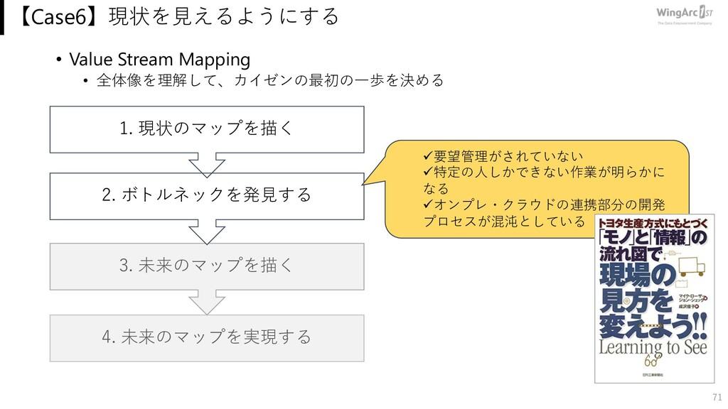 • Value Stream Mapping • 全体像を理解して、カイゼンの最初の⼀歩を決め...