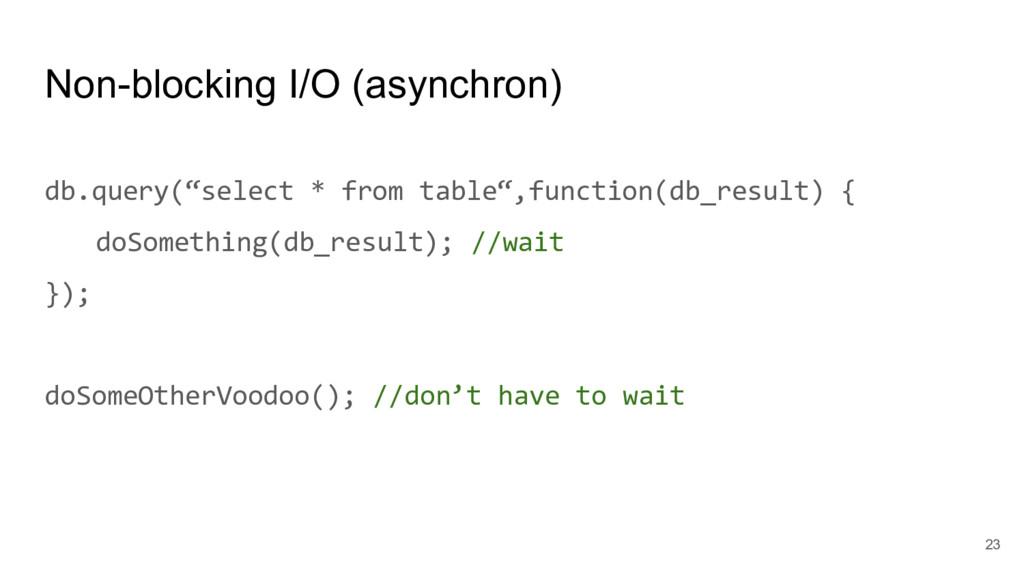 """Non-blocking I/O (asynchron) db.query(""""select *..."""