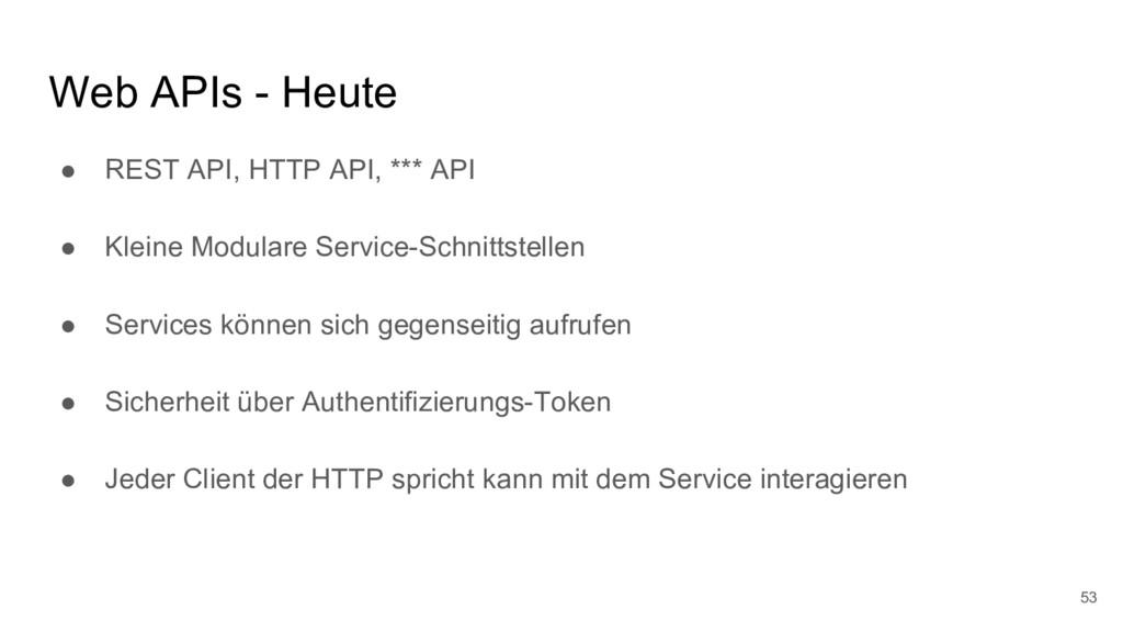 Web APIs - Heute ● REST API, HTTP API, *** API ...