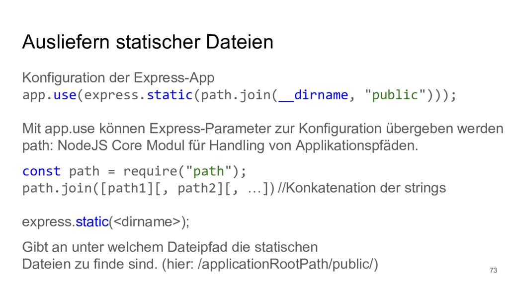 Ausliefern statischer Dateien Konfiguration der...