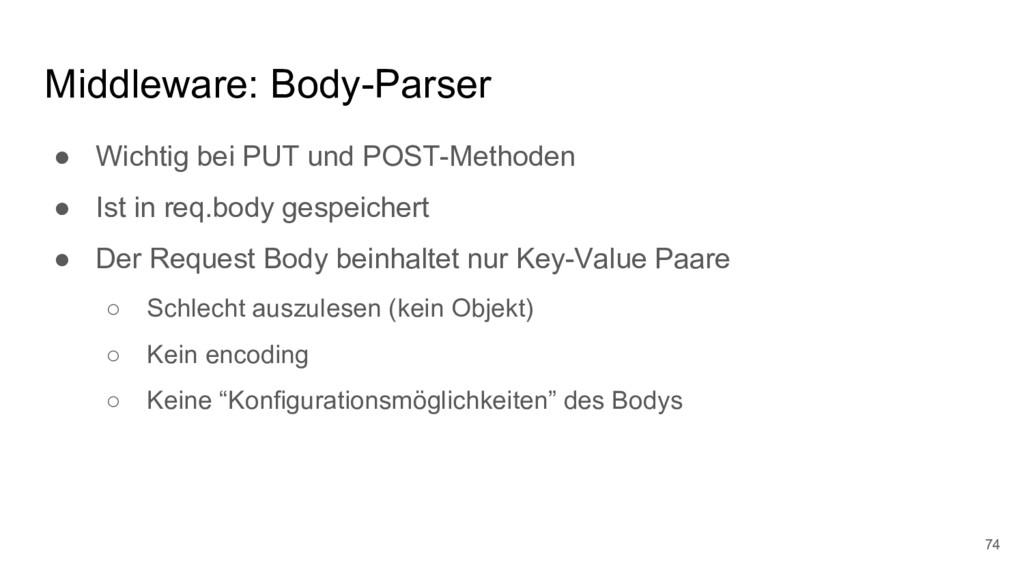 Middleware: Body-Parser ● Wichtig bei PUT und P...