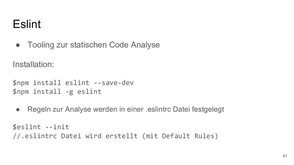 Eslint ● Tooling zur statischen Code Analyse In...