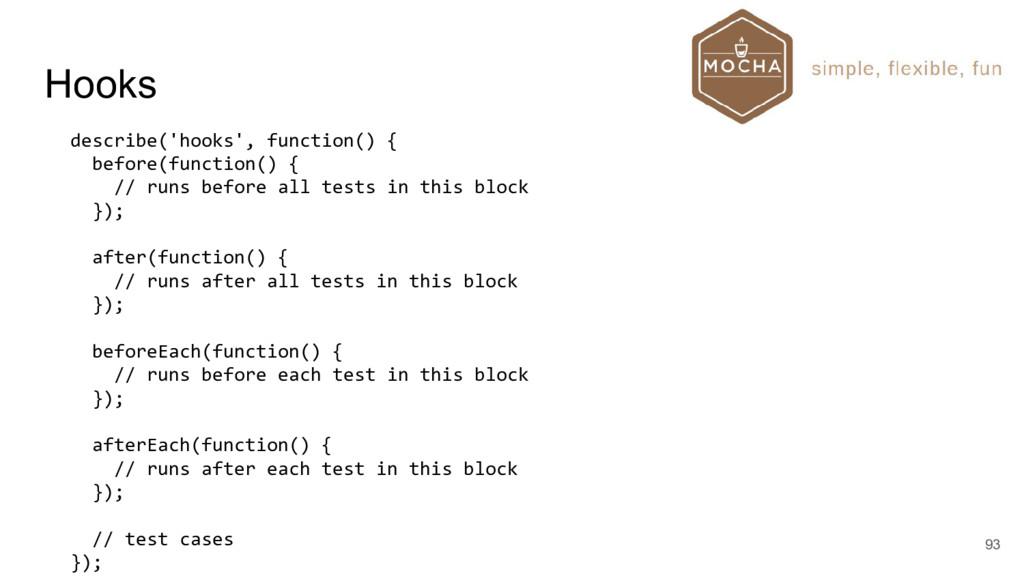 Hooks 93 describe('hooks', function() { before(...