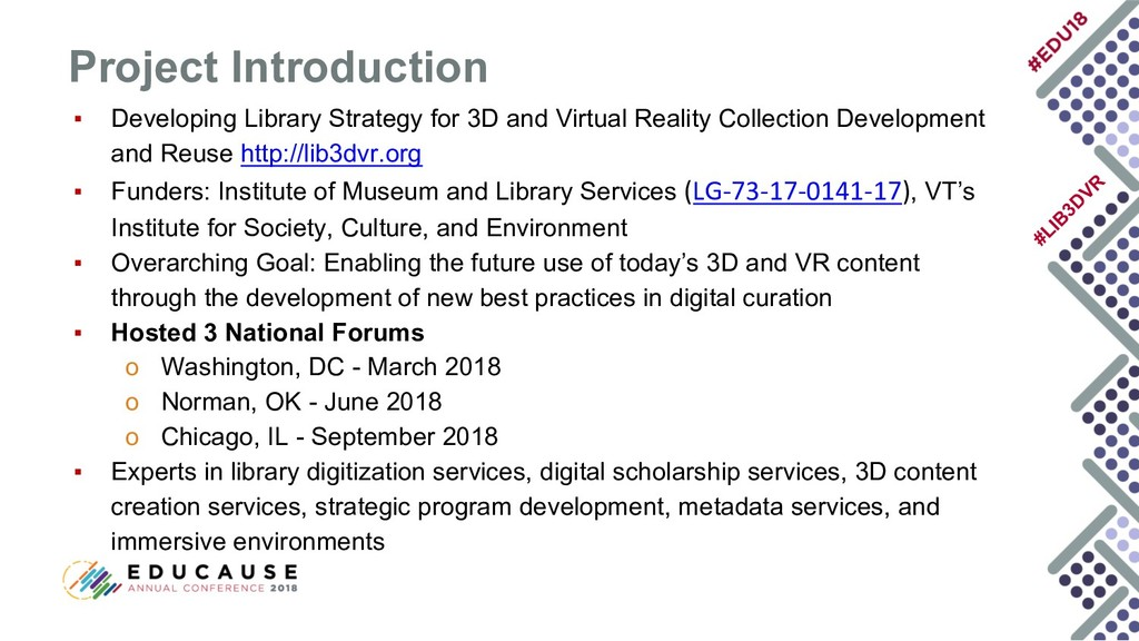 #LIB 3D VR ▪ Developing Library Strategy for 3D...