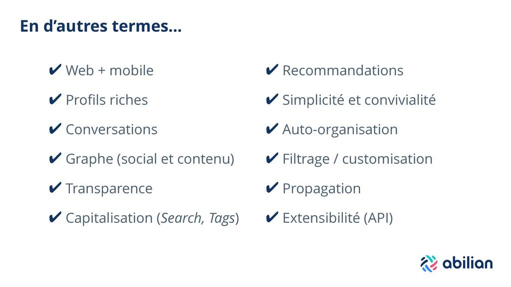 En d'autres termes... ✔ Web + mobile ✔ Profils r...